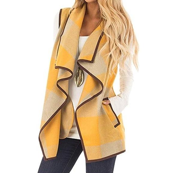 fc88e16eee Mustard Yellow Plaid Waterfall Cardigan Vest